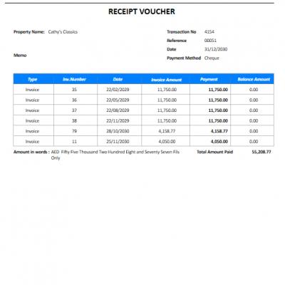 QuickBooks Receipt Voucher Printing