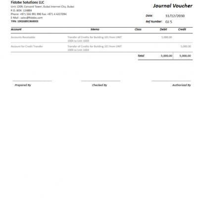Fidobe Solutions LLC | QuickBooks Journal Voucher Printing